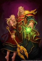 Blood Elf Couple by GlennRaneArt