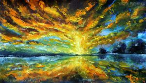 knife painting Magic sunrise over the lake by wwwrybakowcom