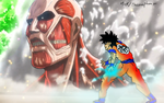 Goku vs Colossal Titan! by TheOnePhun211