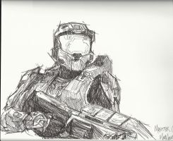 Master Chief Sketch by R3D-FOX