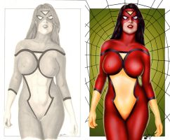 Comishart's Spider-Woman - Before and After by TracyWong