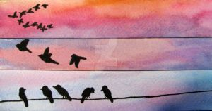 Watercolor Birds by xjust-anna