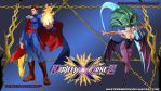 Project X Zone 2 wallpaper - Demitri and Morrigan by MasterEni2009