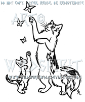 Playful Calico Cat And Kitten Design by WildSpiritWolf