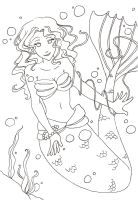 Purple Mermaid Line Art by MunMunChan
