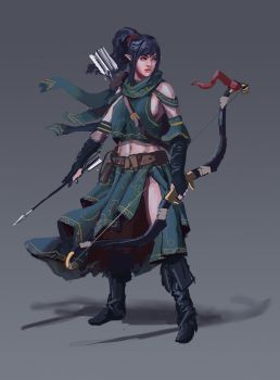 Generic Fantasy Black Haired Elf Archer by L3monJuic3