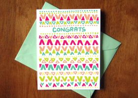 CARD 4.25x5.5 Triangles Congrats by SaltyMoose