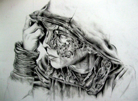Pencil drawing- hooded guy by EleanorAnsell