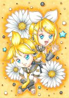 Kagamine Rin and Len by Bella-ran