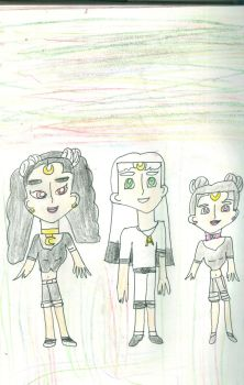 Comet, Asteroid and Diana in human form by Kelseyalicia