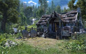 Hunter's Cabin in the Mountains by neanderdigital