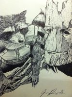 Rocket and groot by cutmasterhaze