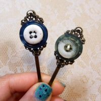 Vintage Button Bobby Pins by MleAtelier