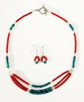 Turquoise and Coral Rounds by starglo21