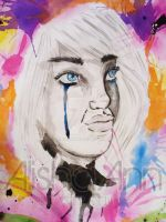 Giant Watercolor girl 1 by AAMurray