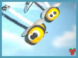 Bees earrings, polymer clay by merylu