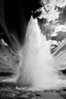 Strokkur black white, Iceland by Nightline