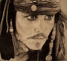 pencil drawing of jack sparrow by cola93