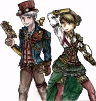 Steampunk Prussia and Hungary~ by mell1you0