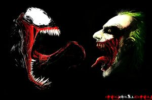 'The Monster vs. The Clown' Venom vs. Joker by AndySkullCandy