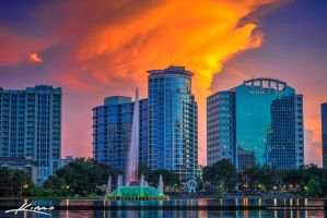 Orlando-Downtown-City-Skyline-with-Color-and-Water by CaptainKimo
