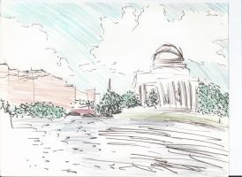 Jefferson Memorial - Pen and Color Pencils by King-Hauken