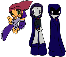 Starfire and Raven by Numbuh247