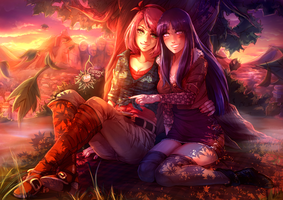 Sakura x Hinata - Autumn in Konoha by CherryInTheSun