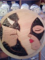 Batman and Catwoman coaster by cutiechibi