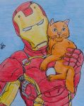 Iron man and cat by she-wolf99