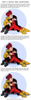 Colouring tut. feat. Wally West and Dick Grayson! by FiendishDesign