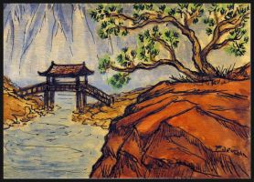 Asian Landscape II ATC by ATCs-By-Faeorain