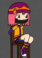 Peach Streusel Tied Up on Chair by 00m