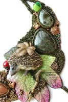 Hedgehog, moss green part by beadlady