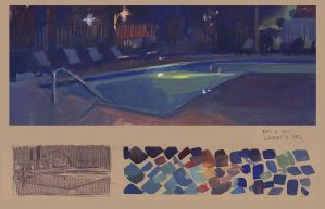 Pool - Plein air painting by HYPOCalvin