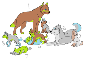Wolf family adoptables by KaoriSkywalker