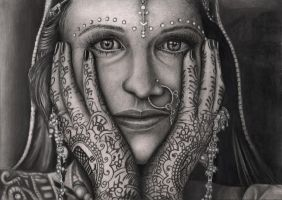 'INDIAN BRIDE' graphite drawing by Pen-Tacular-Artist