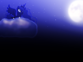 My first wallpaper of, Princess Luna. by Flutterflyraptor