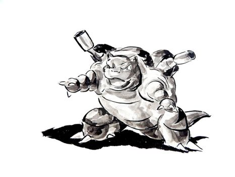 Blastoise in Sumi-e by KnappInk
