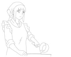 Hinata cooking line art by XxAlOnDrAxX