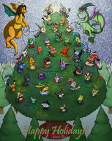 Horde of Happiness in a Huge Holiday Tree by the-b3ing