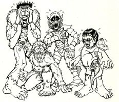 Scary Monsters Mascots by JollyGorilla