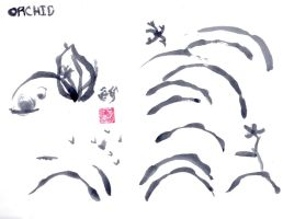 sumi-e orchid practice 1 by innsjo