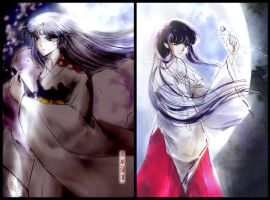 Sesshomaru and Kikyo by Lescca