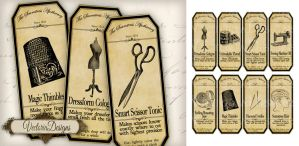 Printable Seamstress Apothecary Labels by VectoriaDesigns