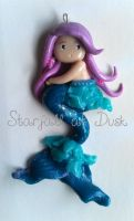 Lavender Turquoise Mermaid Ornament Polymer Clay by StarfallAtDusk