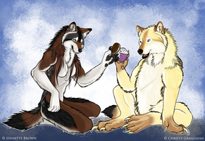 """Cheers"" - Goldenwolf Giftart by sugarpoultry"