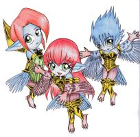 Chibi Harpie Lady Sisters by Sprky2008