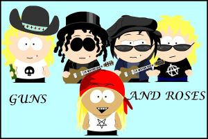 Guns n roses south park style by Gothic-excel