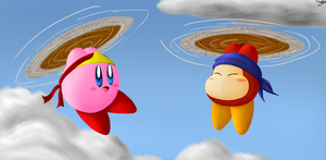 Spear Kirby and Waddle Dee by frostystar